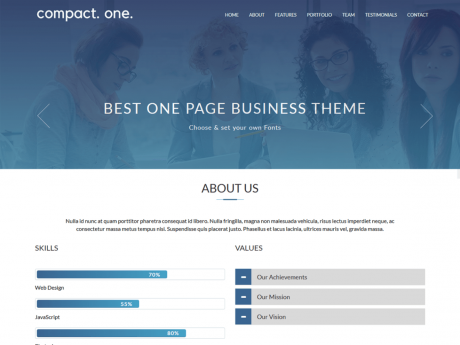 Compact One Free One Page WP Theme