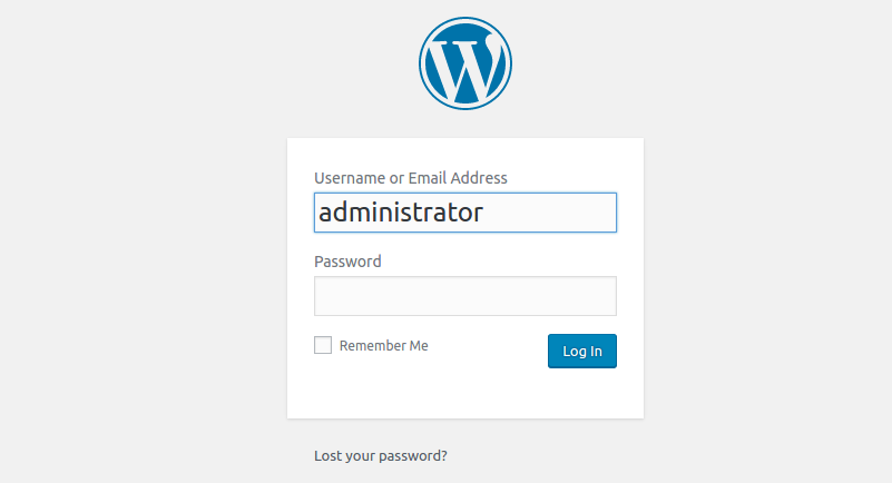 Default admin username
