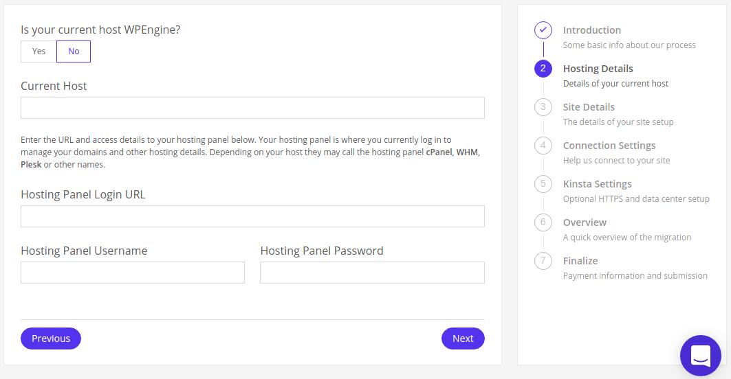 Kinsta migration request form