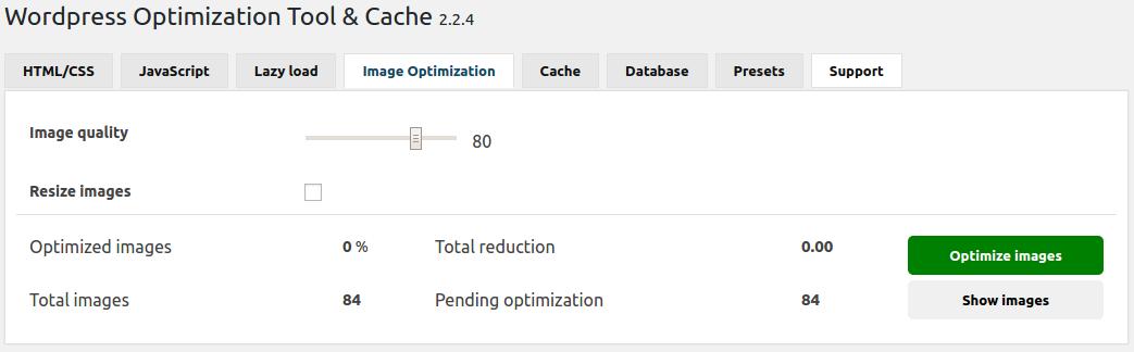 WOT Cache plugin Image optimization