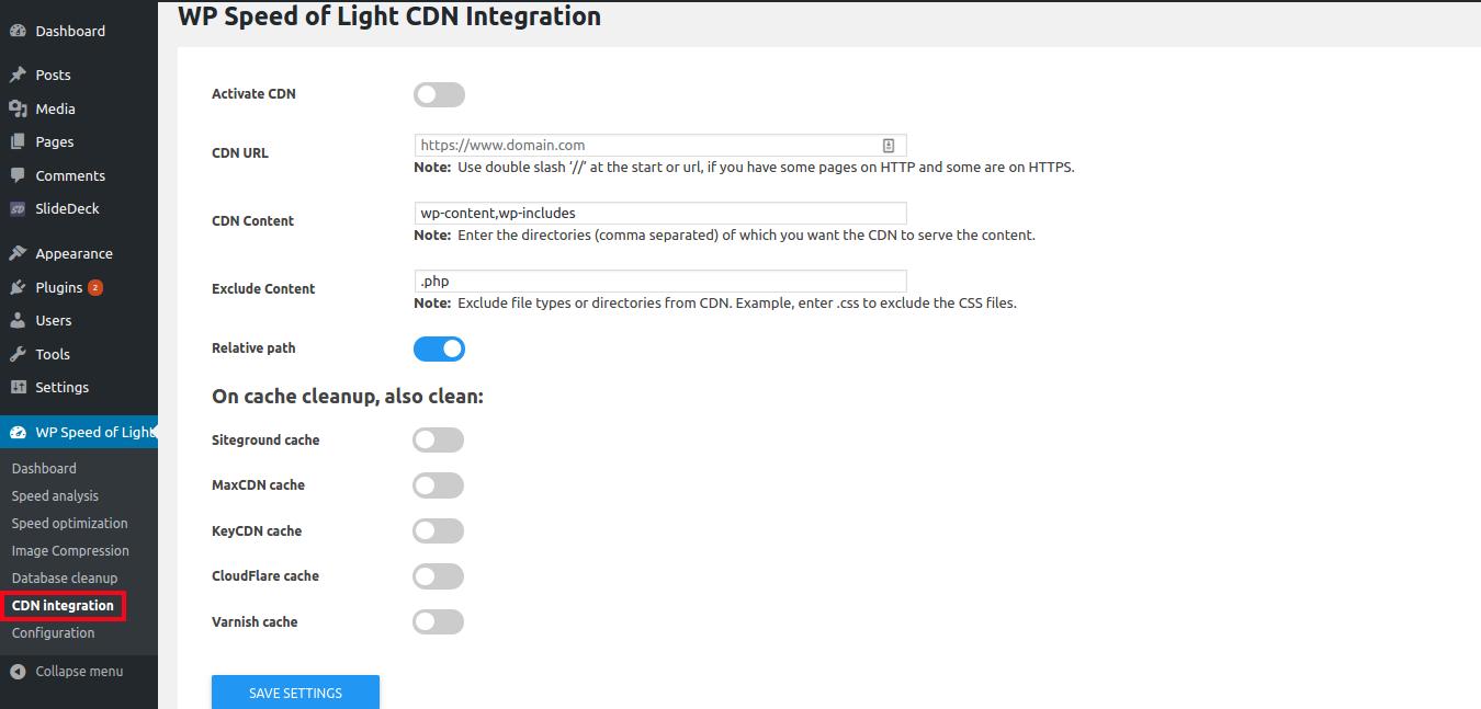 WP Speed of Light CDN integration