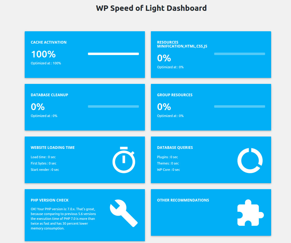 WP Speed of Light Dashboard