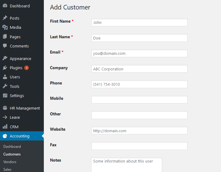 Add customer wordpress accounting system