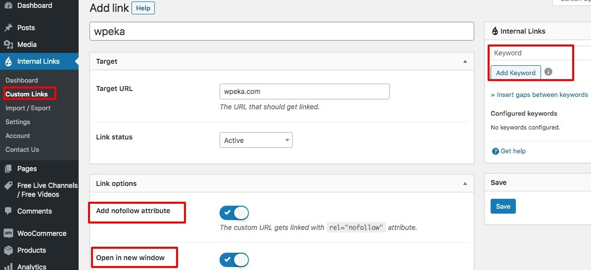 Automatic Interlinking using custom links feature