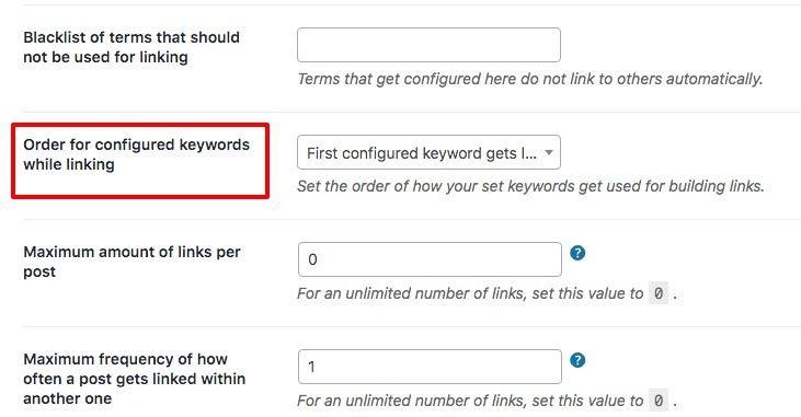 Order of configuring keywords while adding Interlinks