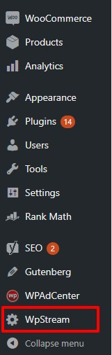 You will see a new item in your dashboard WPStream